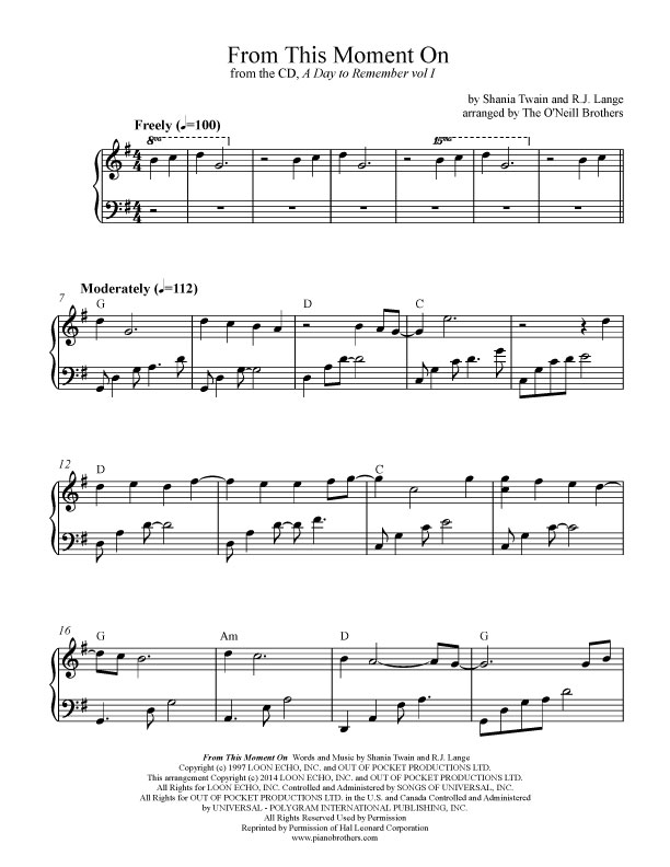 Wedding Sheet Music From This Moment