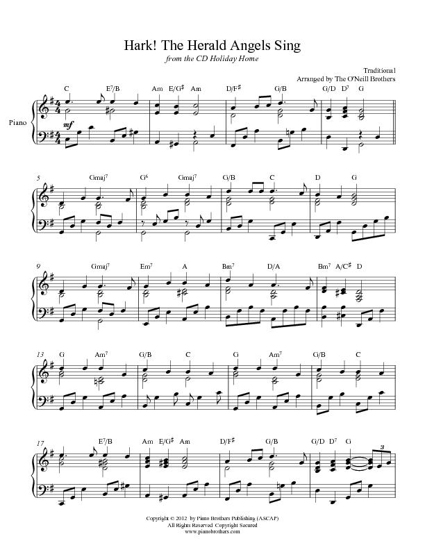 Hark! the Herald Angels Sing - Piano Sheet Music ...