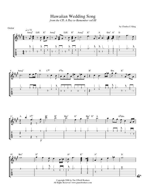 Wedding Sheet Music Hawaiian Song