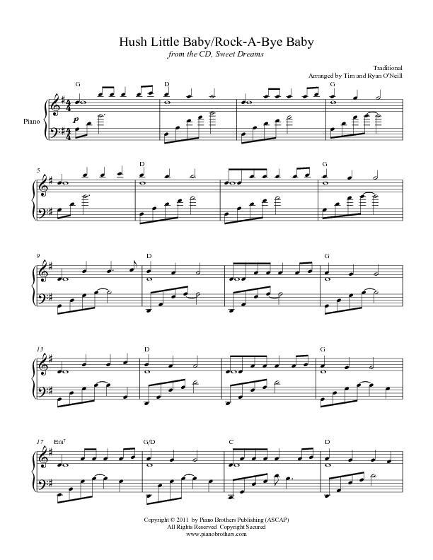 Hush Little Baby - Rock a Bye Baby | Sheet Music