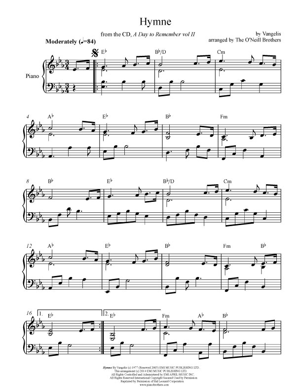 hymne piano wedding sheet music preview download play