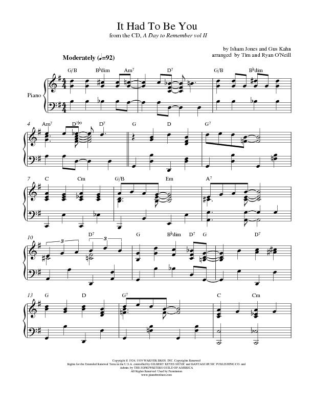 All Music Chords fall for you sheet music : It Had To Be You | Piano Wedding Sheet Music | Preview, Download, Play