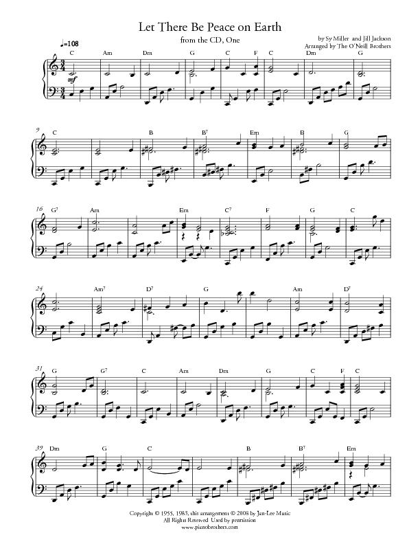 Let There Be Peace On Earth Hymn Piano Music Wed...