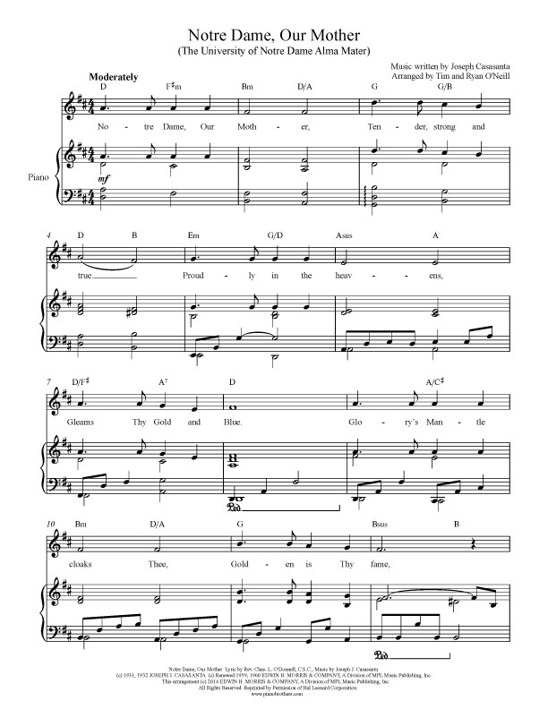 Notre Dame Our Mother Sheet Music
