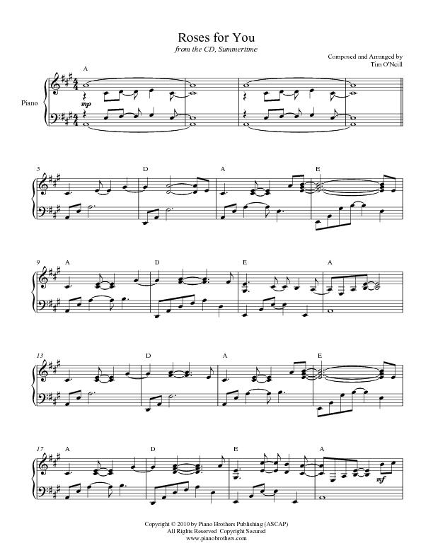 Piano Sheet Music | Roses For You from Summertime CD