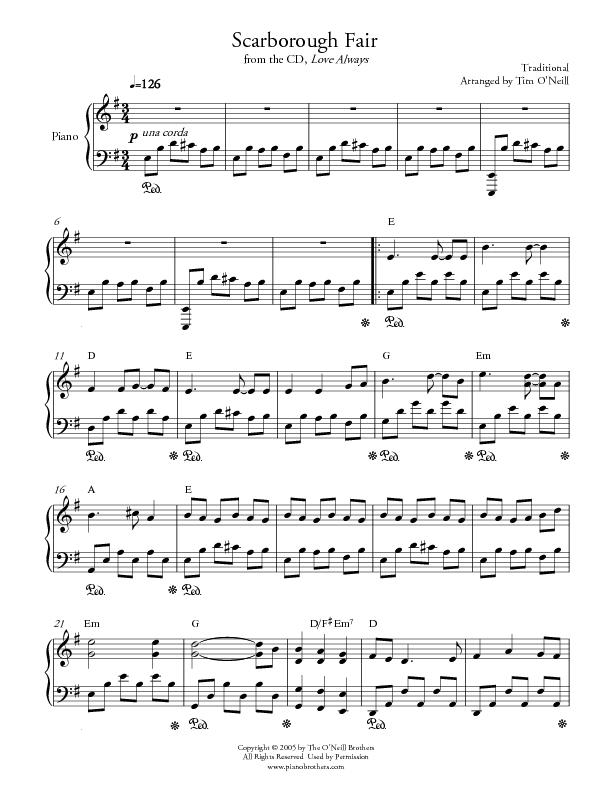 how to play scarborough fair piano