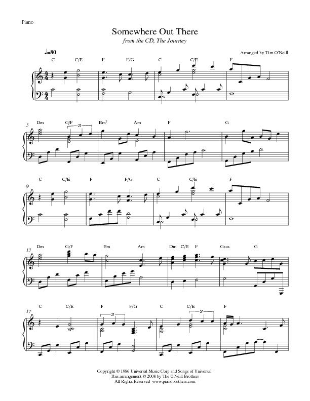 Piano somewhere piano sheet music : Somewhere Out There Piano Sheet Music | Preview Transpose and ...