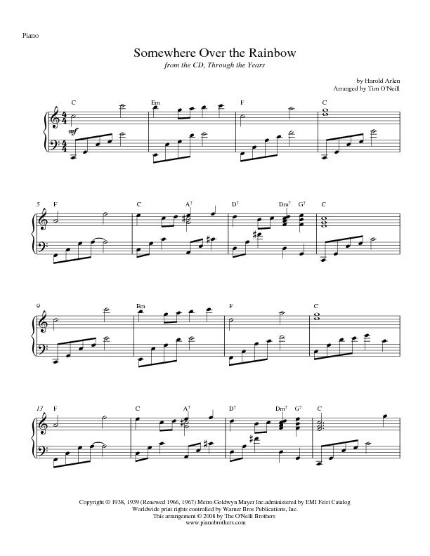 Somewhere Over the Rainbow Piano Sheet Music | Preview Transpose and ...