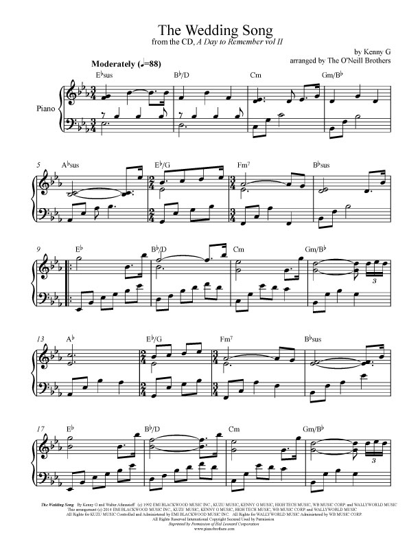Piano piano sheet music for popular songs : The Wedding Song | Piano Wedding Sheet Music | Preview, Download, Play