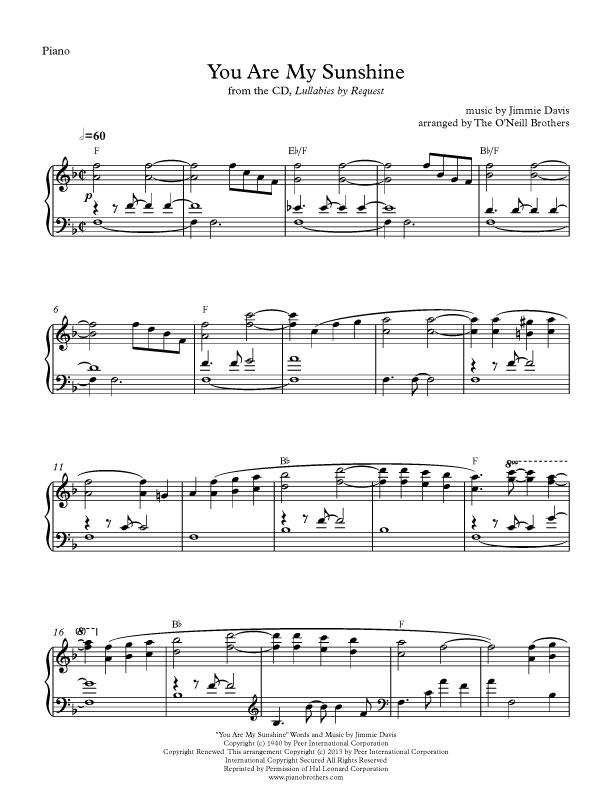 Piano Music - You Are My Sunshine
